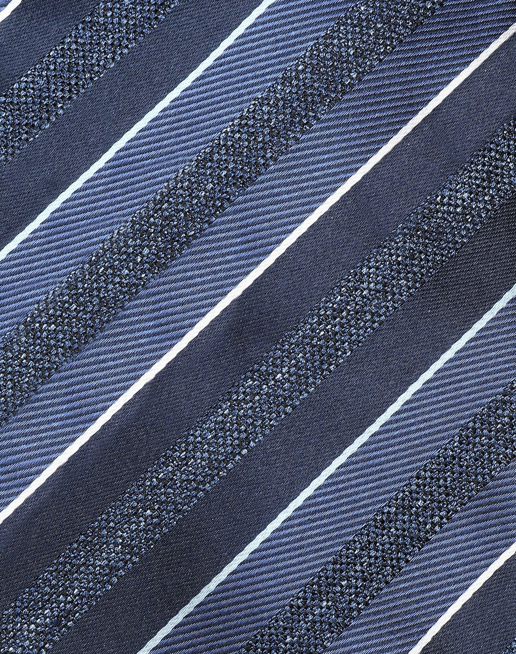 BRIONI Midnight Blue and Royal Blue Regimental Tie Tie Man e