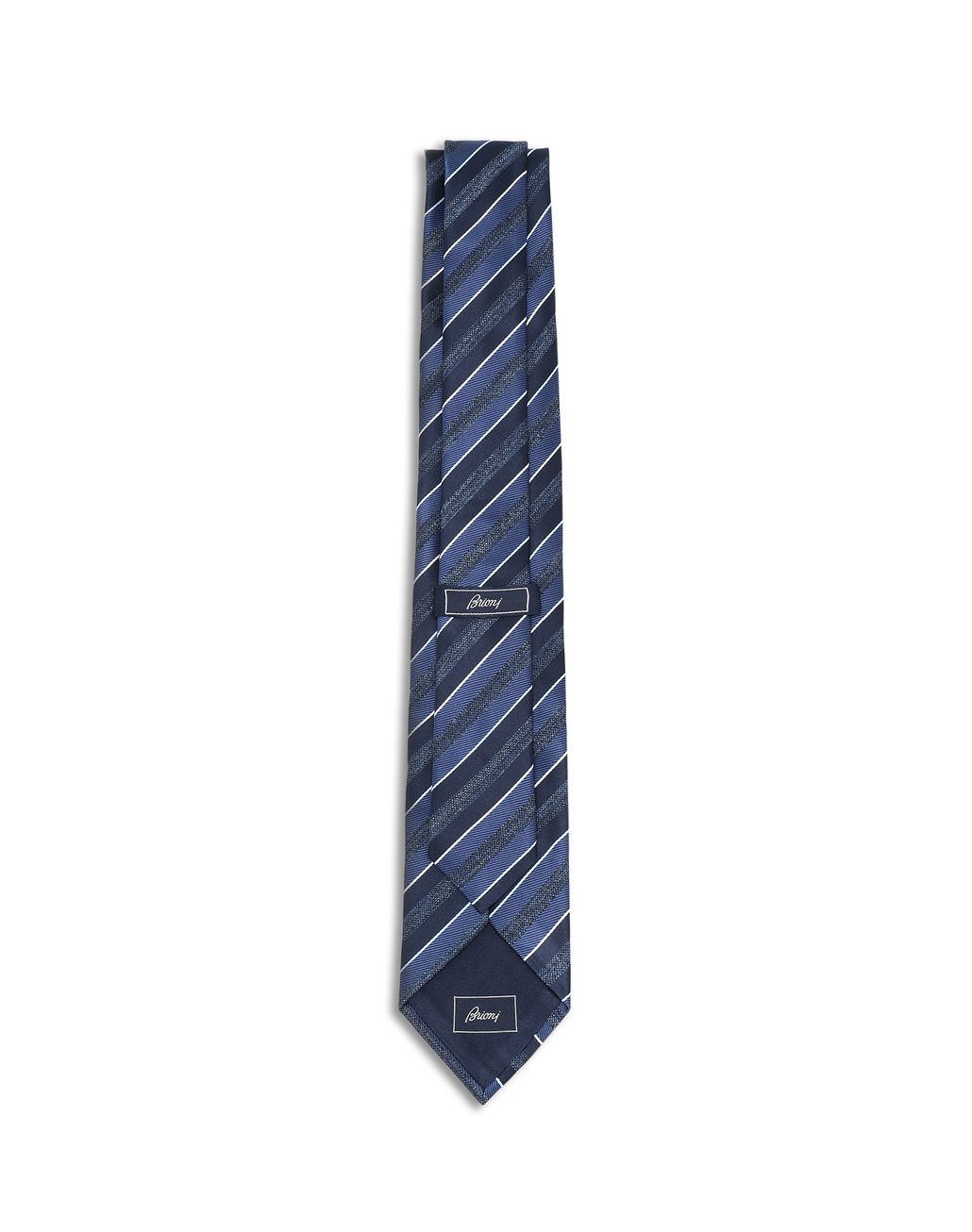 BRIONI Midnight Blue and Royal Blue Regimental Tie Tie Man r