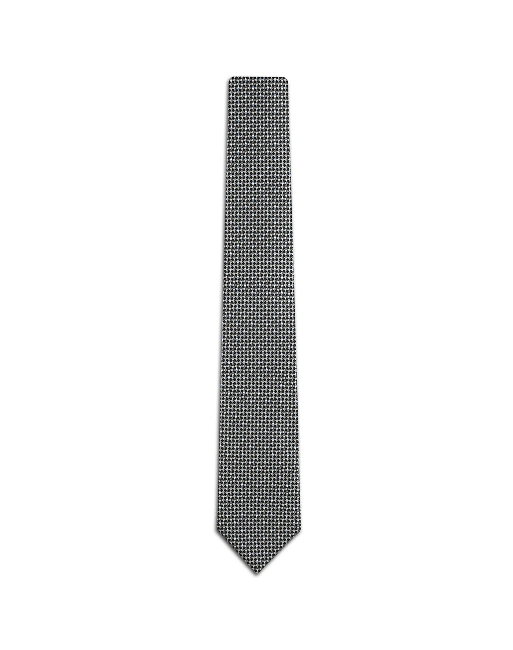 BRIONI Black and Flannel Designed Tie Tie Man f