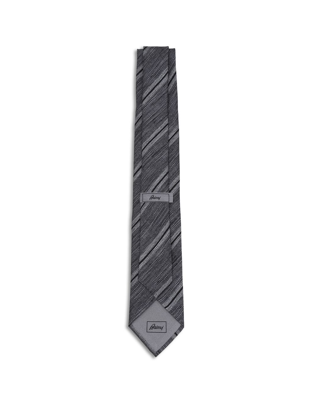 BRIONI Beige and Grey Regimental Tie Tie [*** pickupInStoreShippingNotGuaranteed_info ***] r