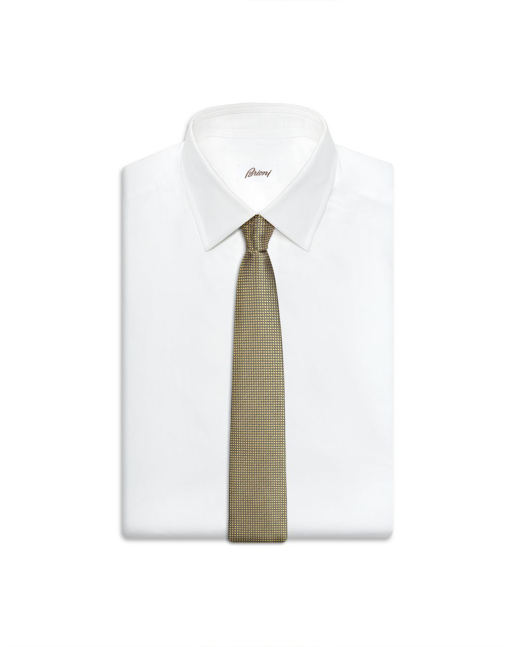 BRIONI Yellow Micro Design Tie Tie Man e