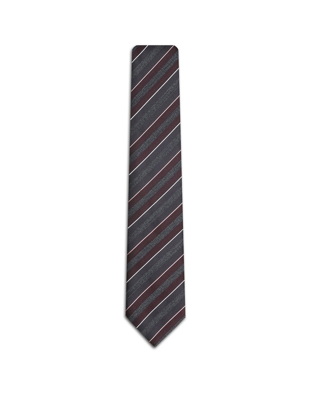 BRIONI Amarant and Gray Regimental Tie Tie Man f