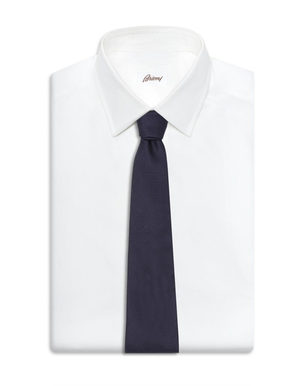 BRIONI Midnight Blue Woven Tie Tie Man d