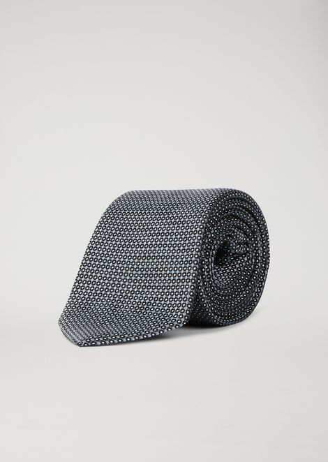 Pure silk scarf with geometric pattern