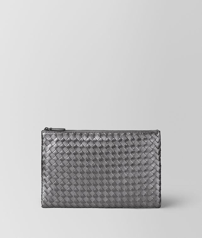 BOTTEGA VENETA ARGENTO OSSIDATO INTRECCIATO GROS GRAIN BILETTO Pouch and case E fp