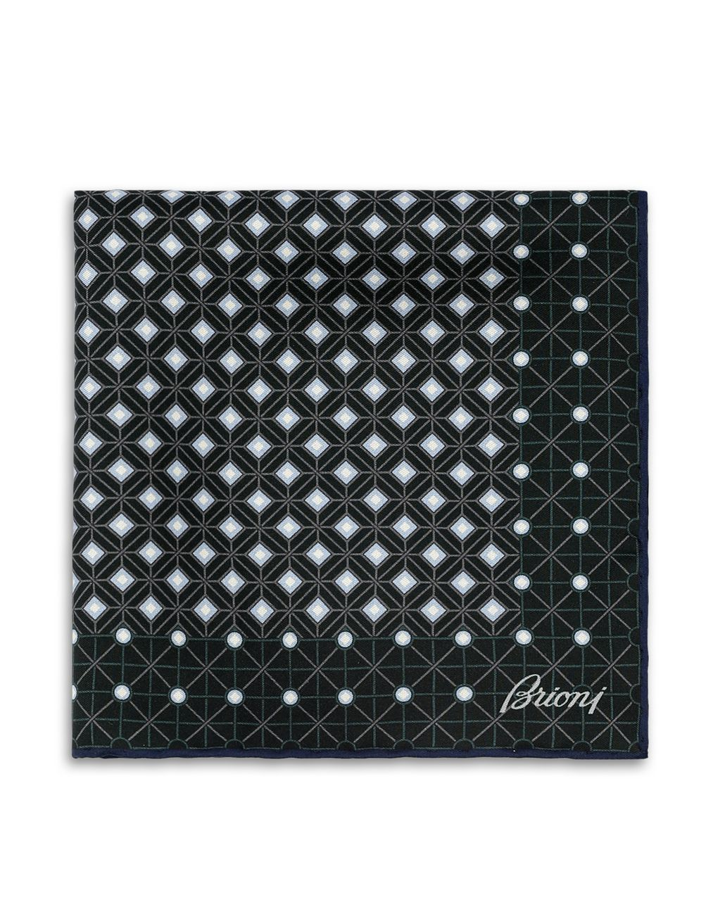 BRIONI Green and Gray Macro Design Pocket Square Pocket Square [*** pickupInStoreShippingNotGuaranteed_info ***] f