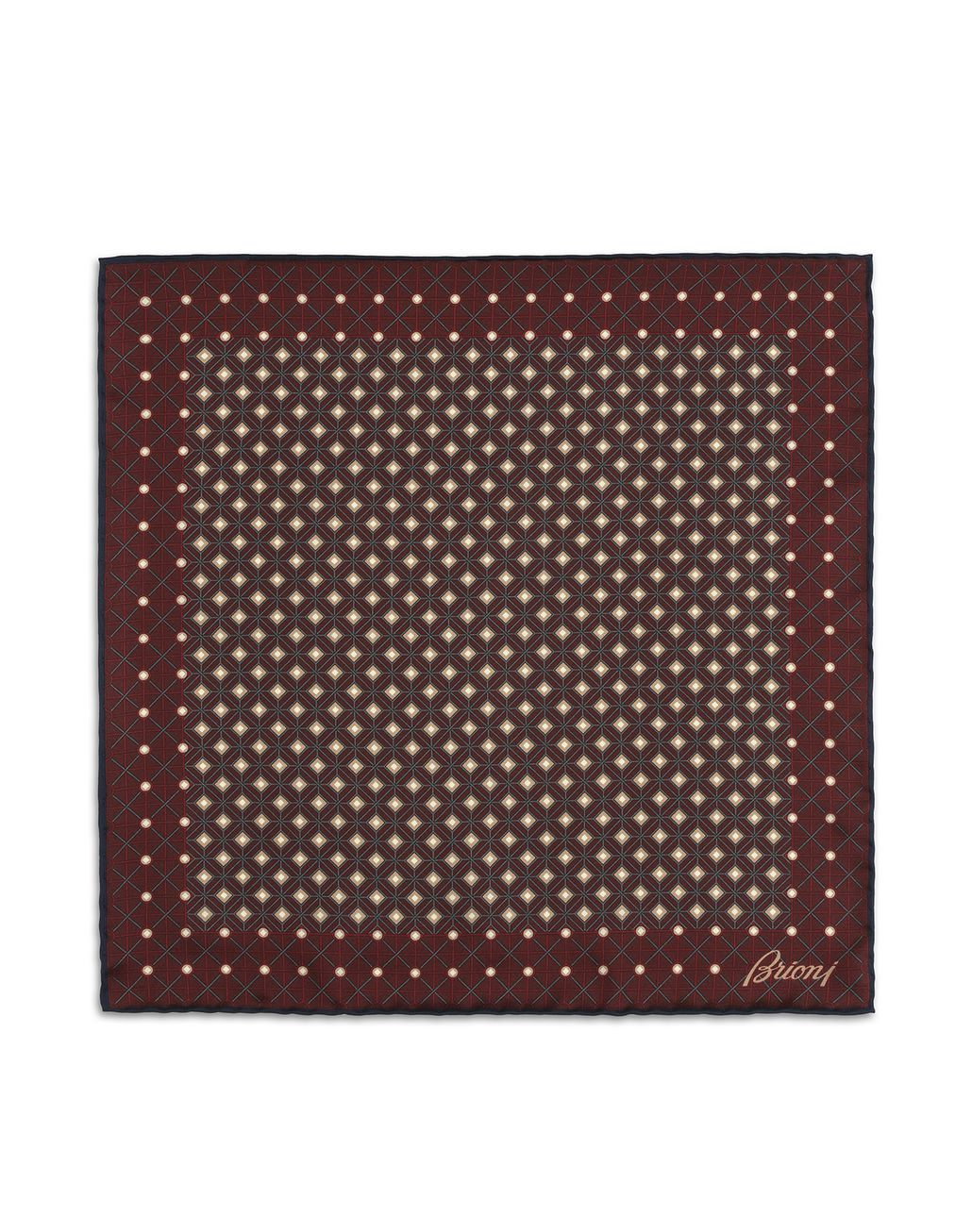 BRIONI Bordeaux and Navy Blue Macro design Pocket Square Pocket Square [*** pickupInStoreShippingNotGuaranteed_info ***] f