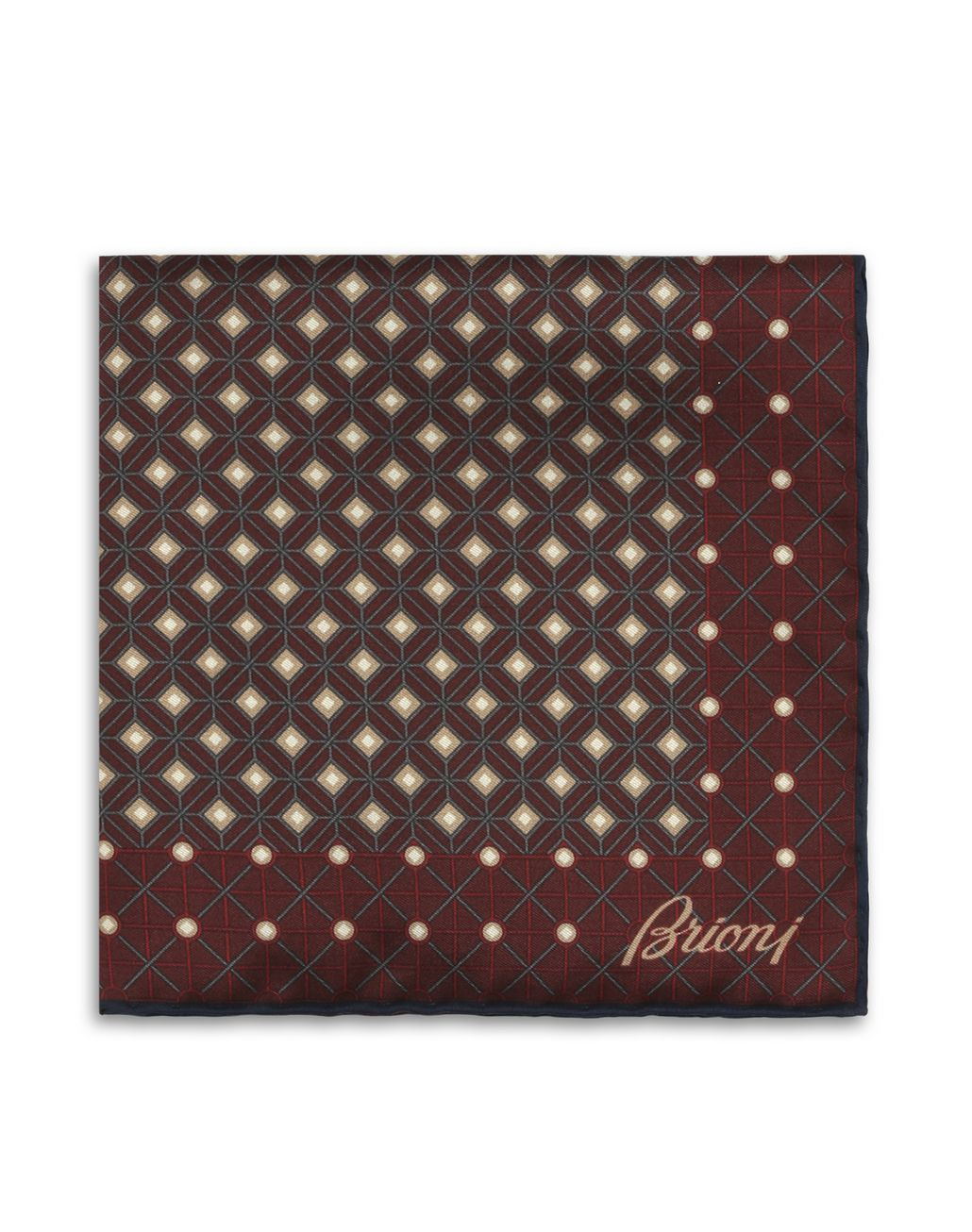 BRIONI Bordeaux and Gray Macro design Pocket Square Pocket Square [*** pickupInStoreShippingNotGuaranteed_info ***] r