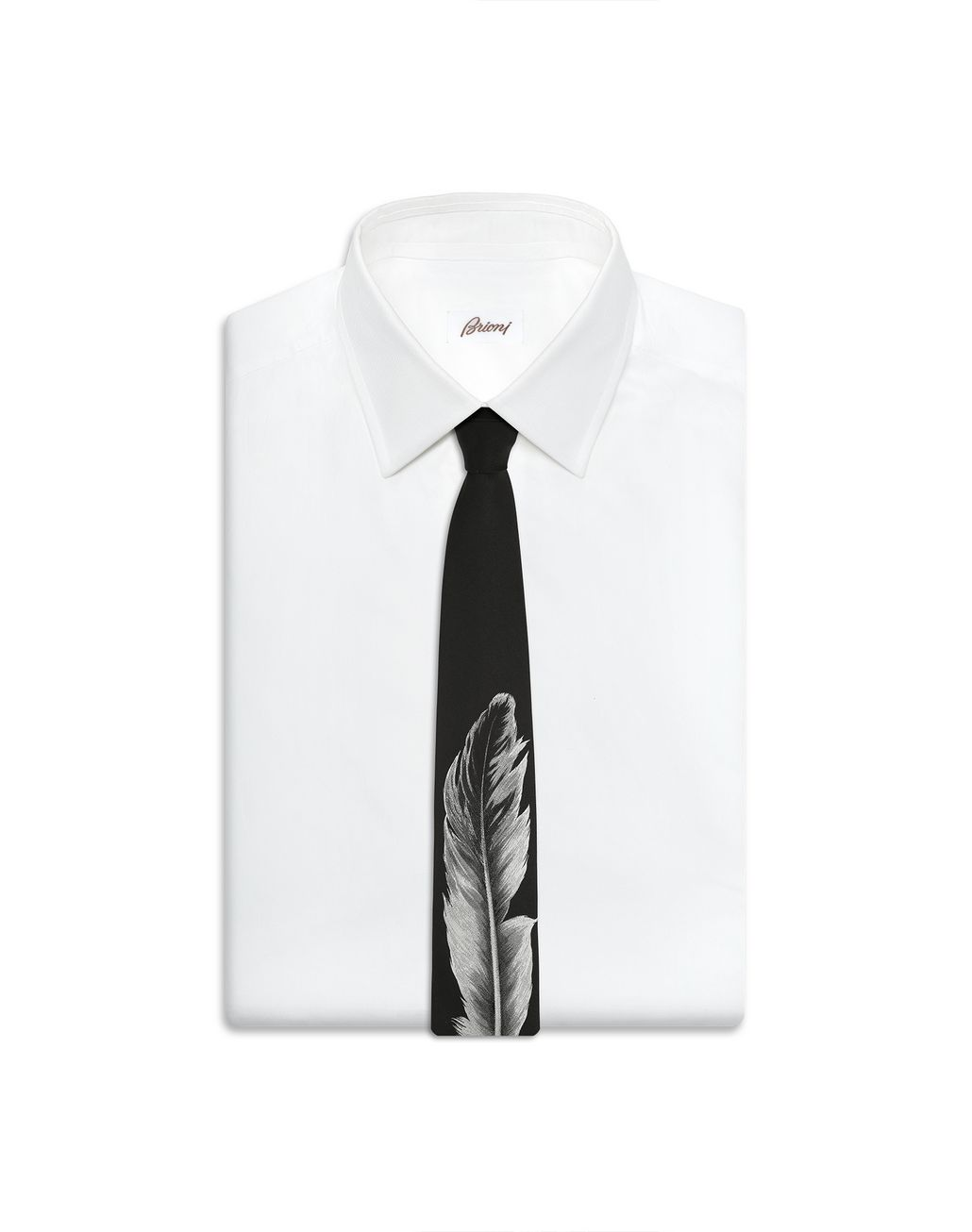 BRIONI Black Feather Tie Tie Man e