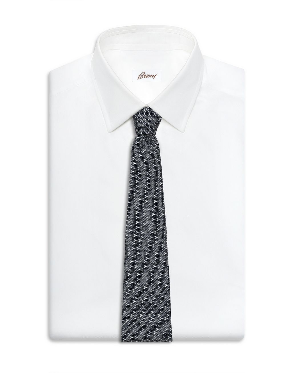 BRIONI Anthracite and Gray Micro Design Tie Tie Man d