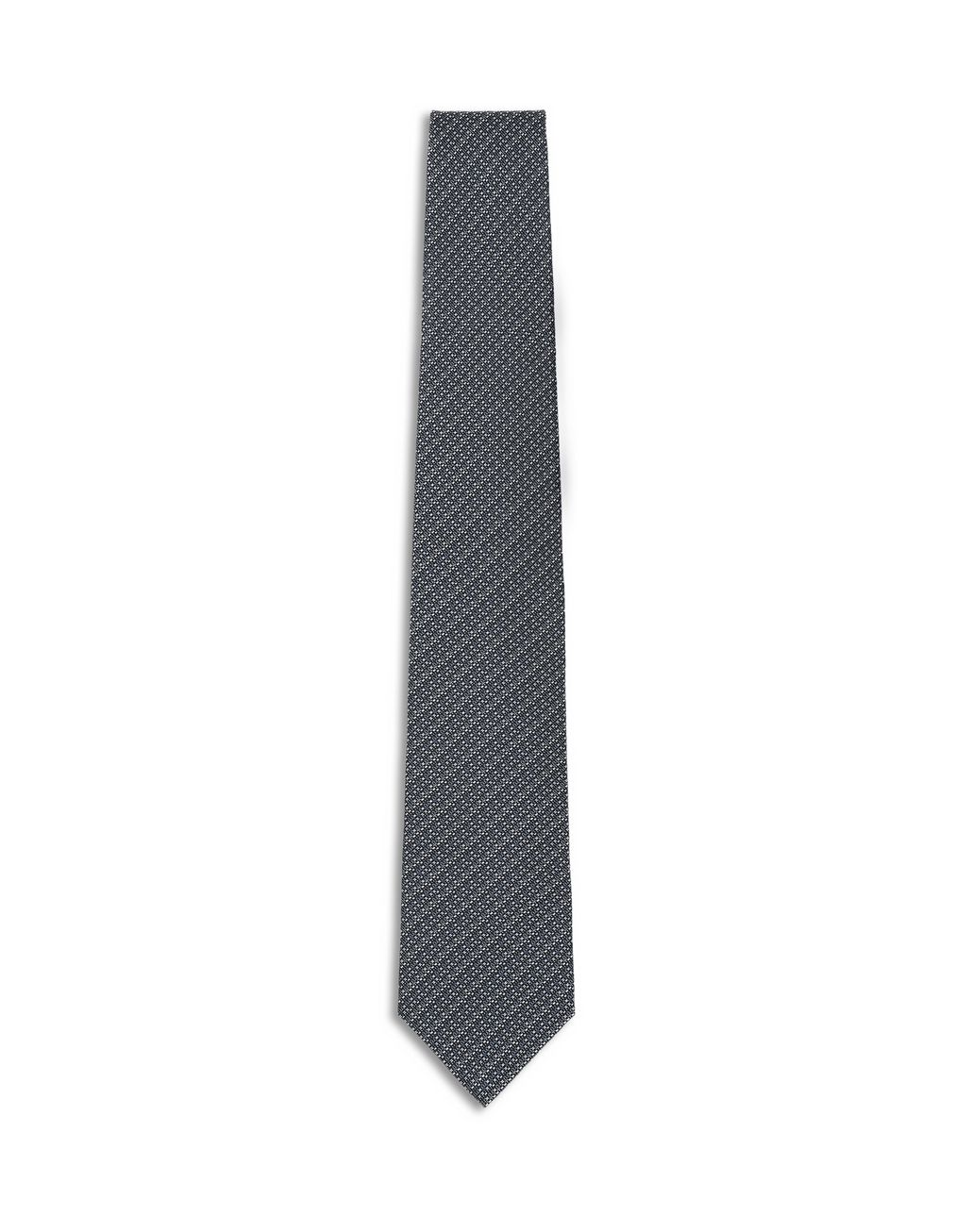 BRIONI Anthracite and Grey Micro Design Tie Tie [*** pickupInStoreShippingNotGuaranteed_info ***] f