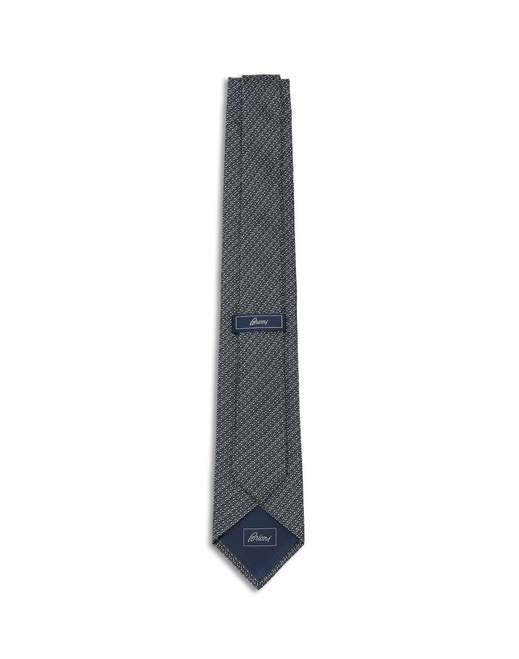 BRIONI Anthracite and Grey Micro Design Tie Tie [*** pickupInStoreShippingNotGuaranteed_info ***] r