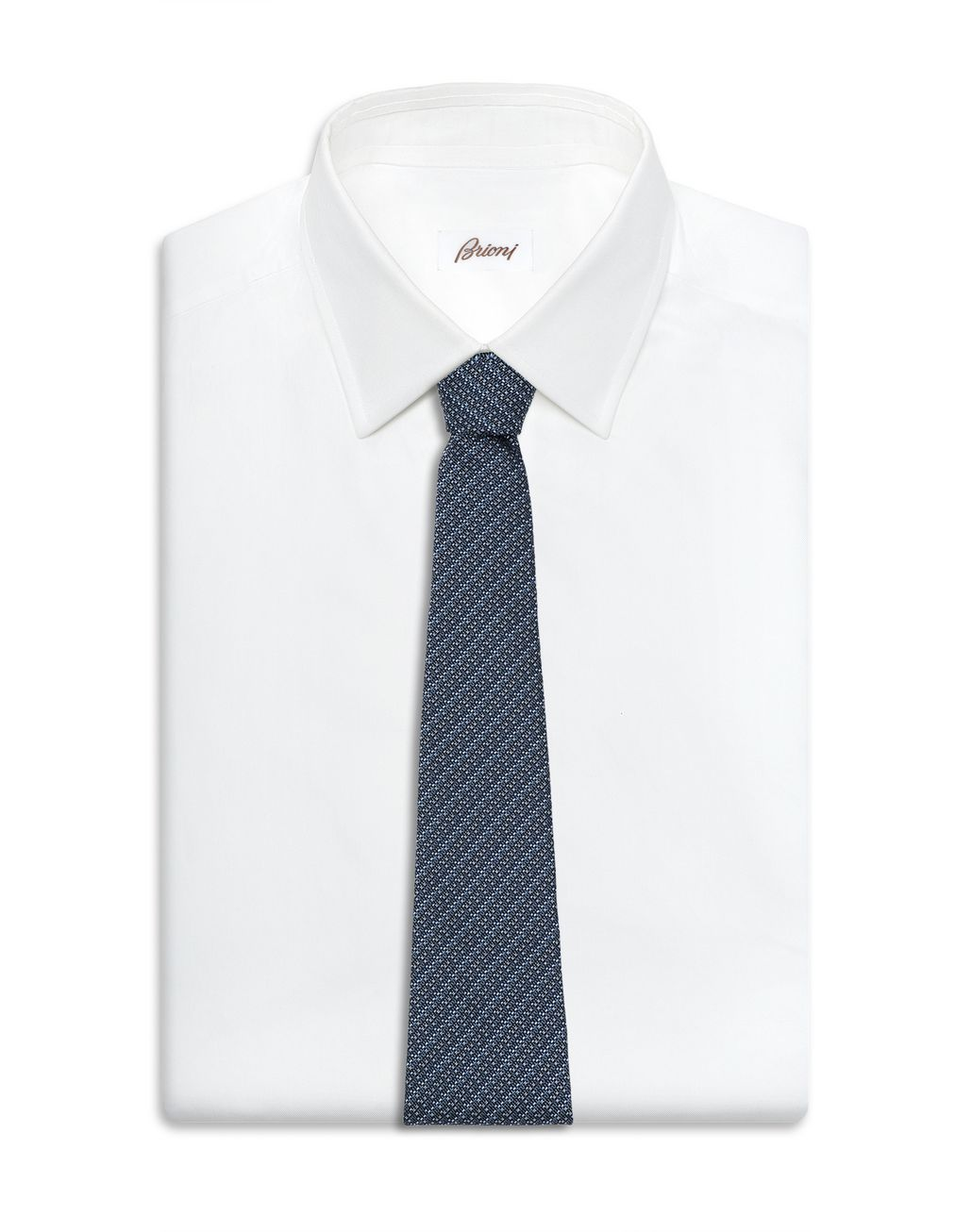 BRIONI Midnight Blue and Royal Blue Micro Design Tie Tie Man d