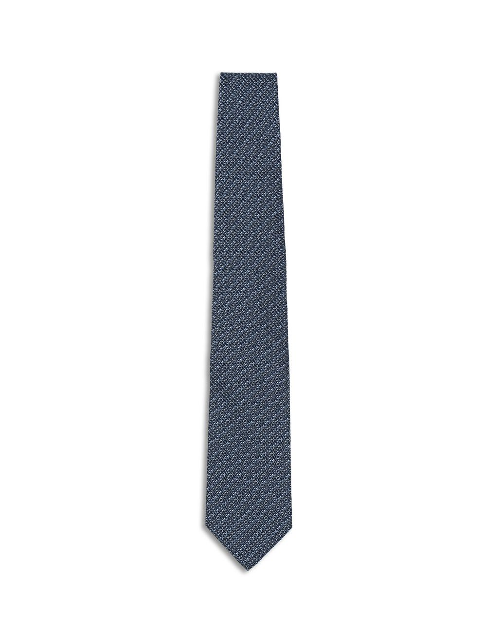 BRIONI Midnight Blue and Royal Blue Micro Design Tie Tie Man f