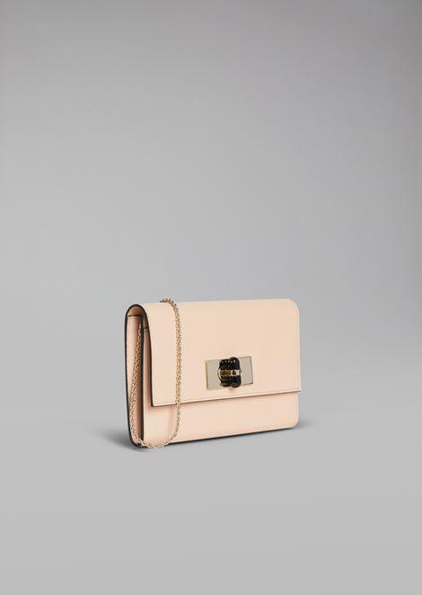 Mini-borsa Borgonuovo 11 a portafoglio in pelle con girello in plexi