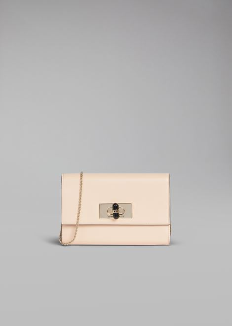 Wallet mini bag in leather with chain and Plexiglas turn lock closure