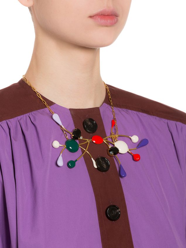 Marni Necklace in gold metal with colored glass and rhinestones Woman - 2