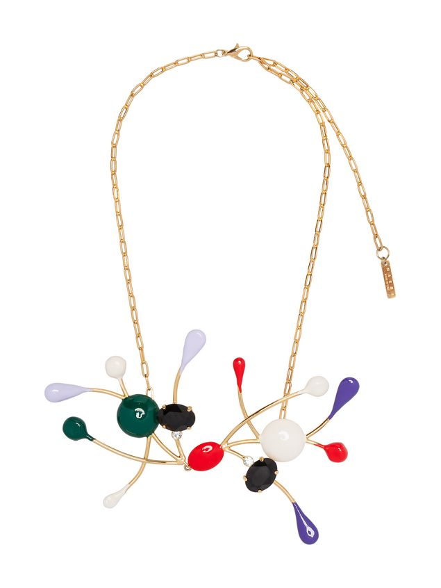 Marni Necklace in gold metal with colored glass and rhinestones Woman - 1