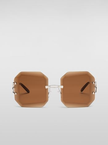 Marni MARNI WOMEN'S RUNWAY sunglasses in brown metal Woman