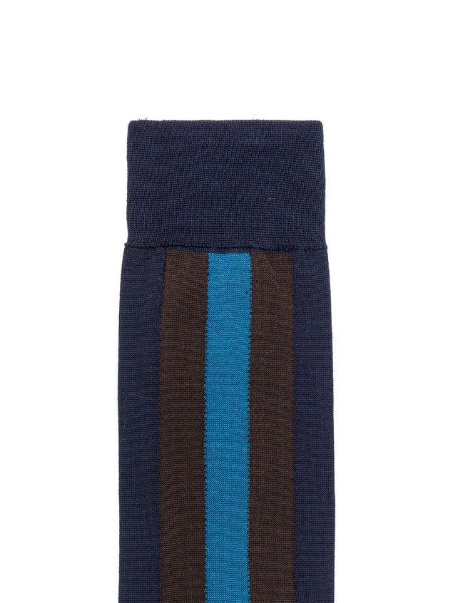 Marni Blue cotton sock with brown and sea blue stripe Man - 3