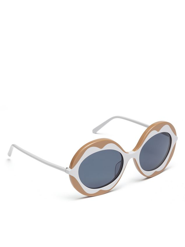 Marni MARNI DALI' sunglasses in beige and white acetate Woman - 2