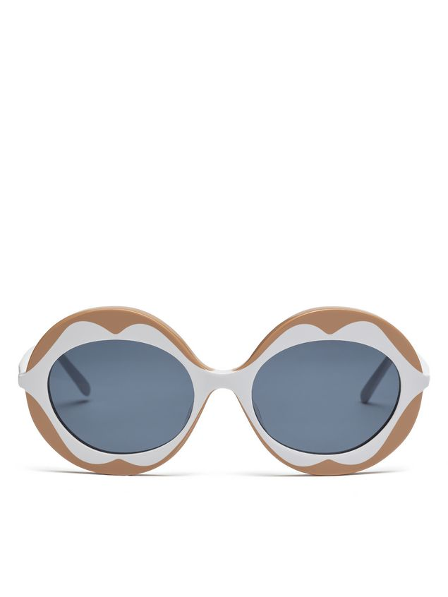 Marni MARNI DALI' sunglasses in beige and white acetate Woman - 1