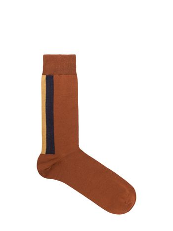 Marni Brown cotton sock with blue and mustard stripe Man