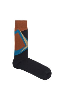 Marni Brown cotton sock with blue and gold geometric design Man