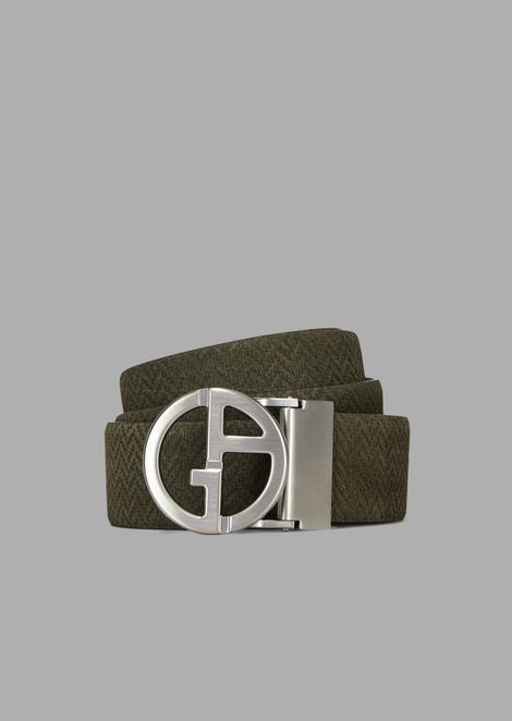 Suede leather belt with chevron print detail