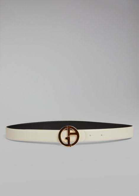 Reversible leather belt with metal logo