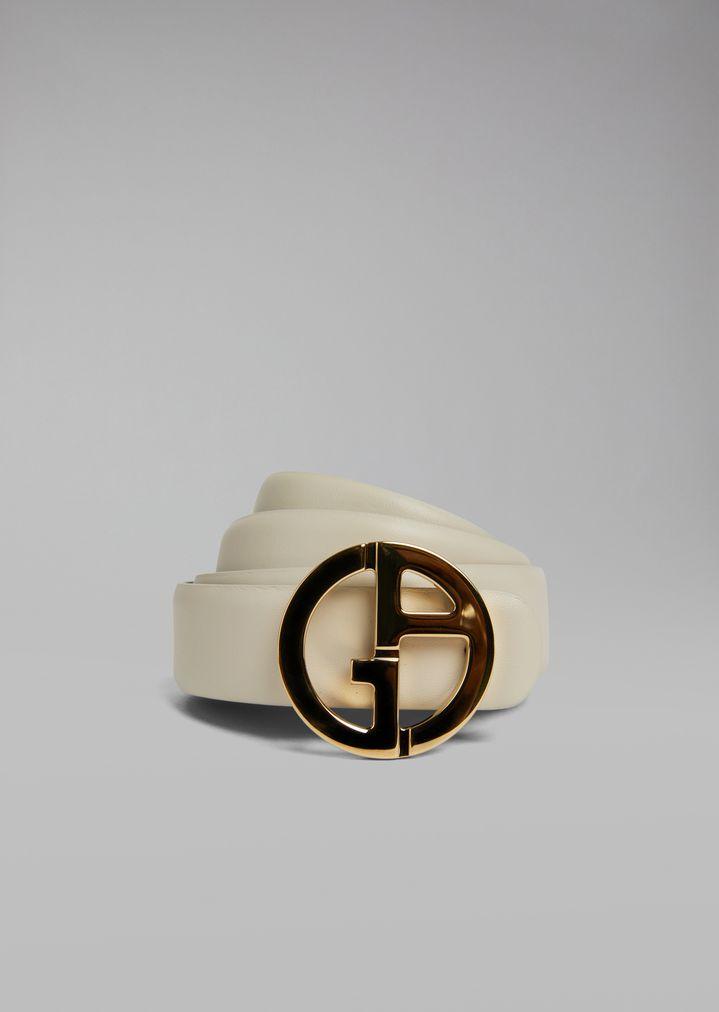 9f4553af510c Двусторонний кожаный ремень с металлическим логотипом | Женский ...