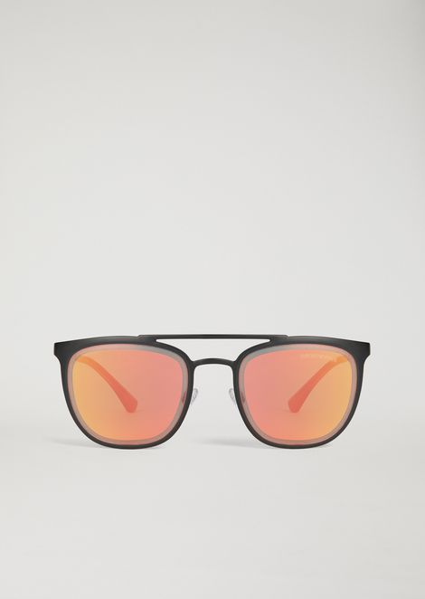 Metal sunglasses with double bridge