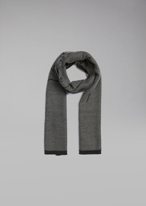 Pure wool scarf with iconic signature jacquard embroidery