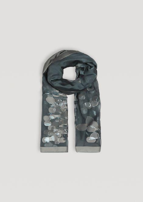 Patterned silk blend voile scarf