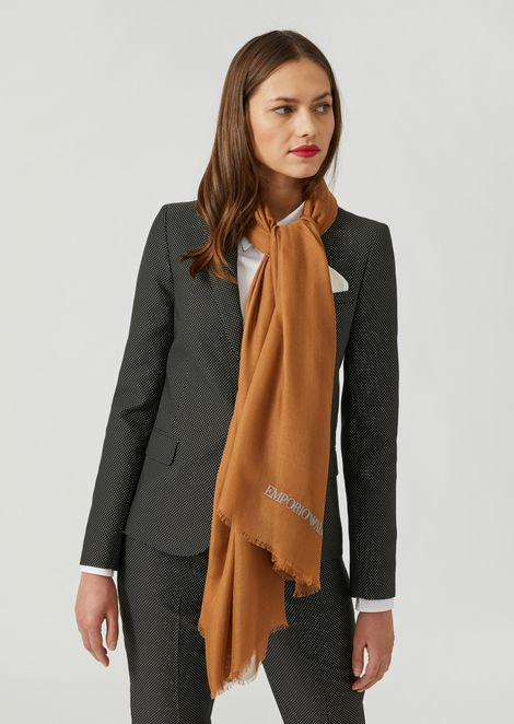 Modal scarf with flocked logo
