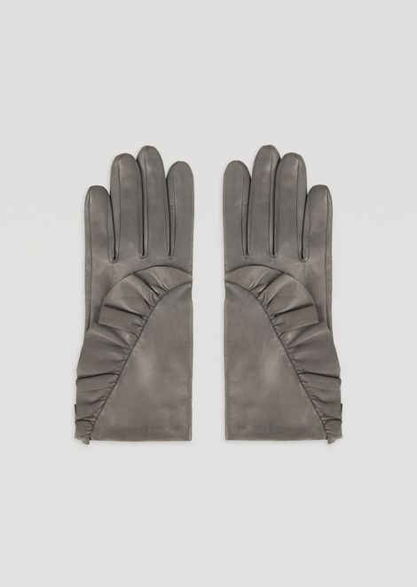 Leather gloves with side ruffles