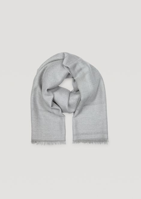 Pure wool scarf with jacquard logo pattern