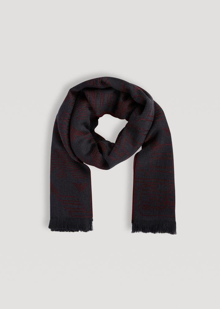 Écharpe en pure laine avec logo jacquard   Homme   Emporio Armani f01a12b5779