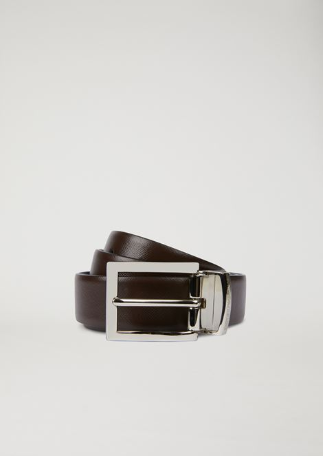 Saffiano leather belt with metal buckle