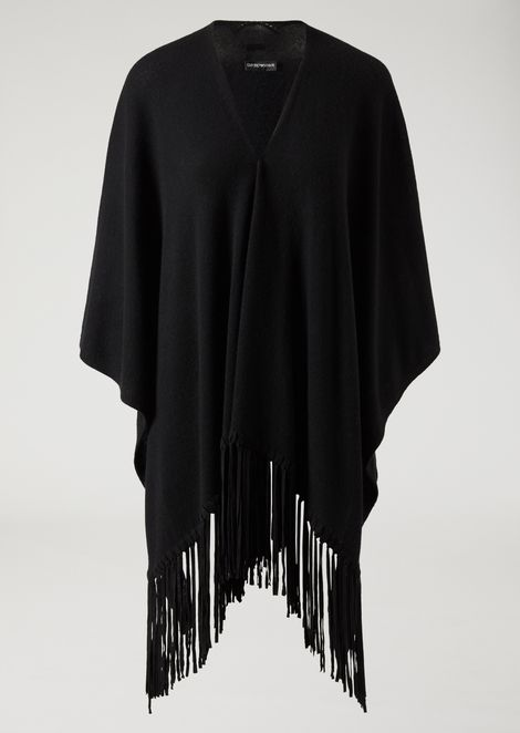 Cashmere and wool cape with fringe
