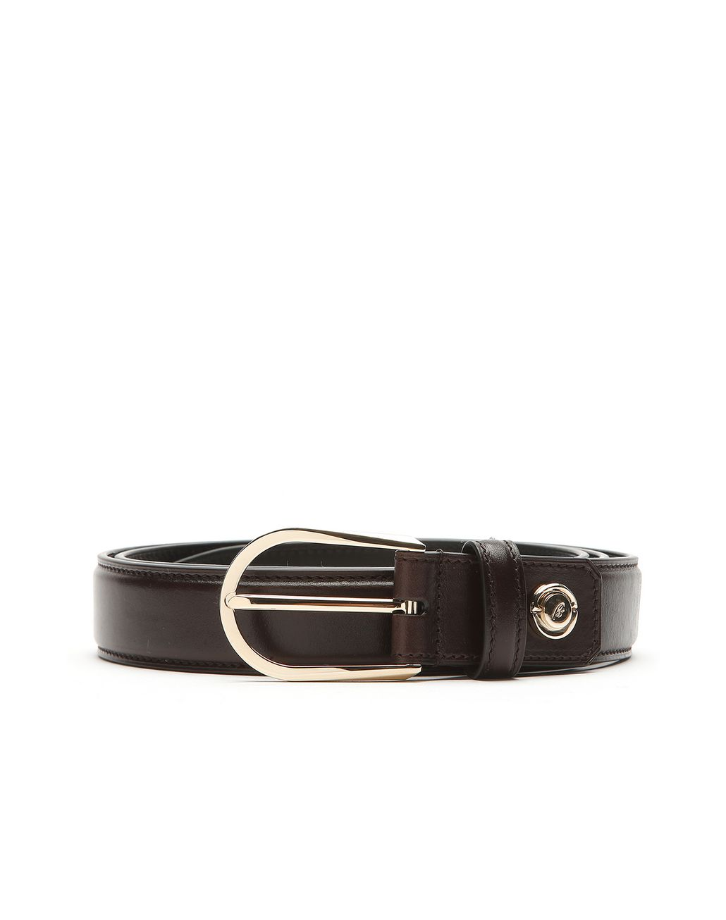 BRIONI Brown Polished Calfskin Belt Belt Man r