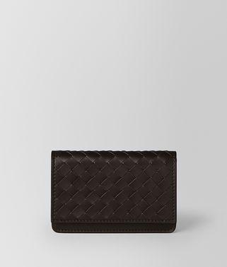 深咖啡色编织皮革卡片夹