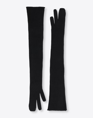 Ribbed long knit gloves