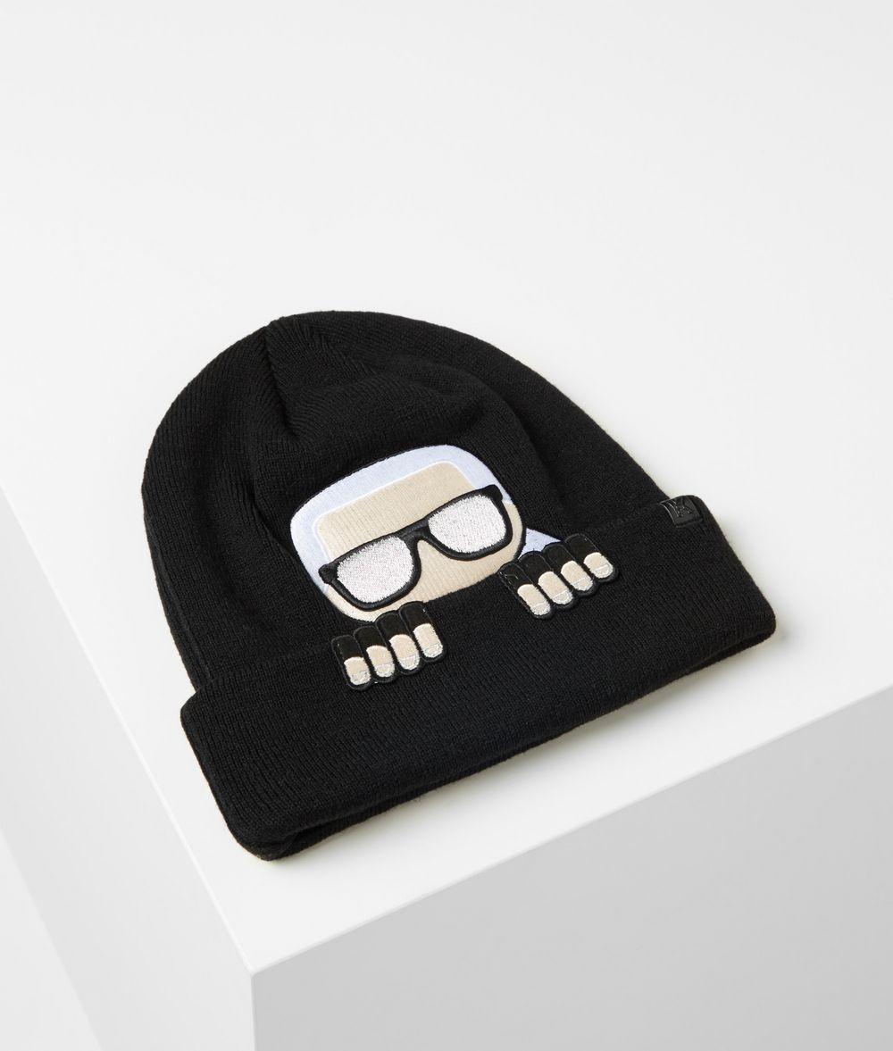 KARL LAGERFELD K/Ikonik Wool Blend Beanie Hat Hat Woman f