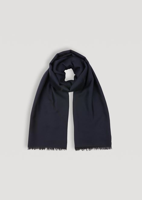 Pure wool scarf with embroidered logo and frayed hems