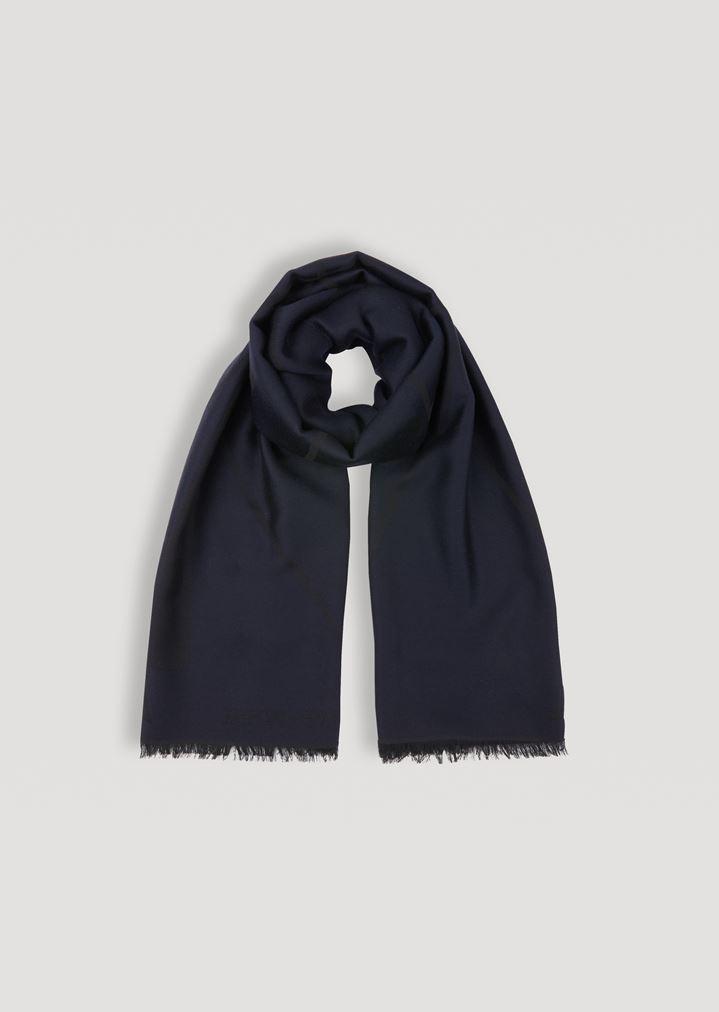 Écharpe en pure laine avec broderie logotypée et bords à franges   Homme    Emporio Armani 8ff678117b2