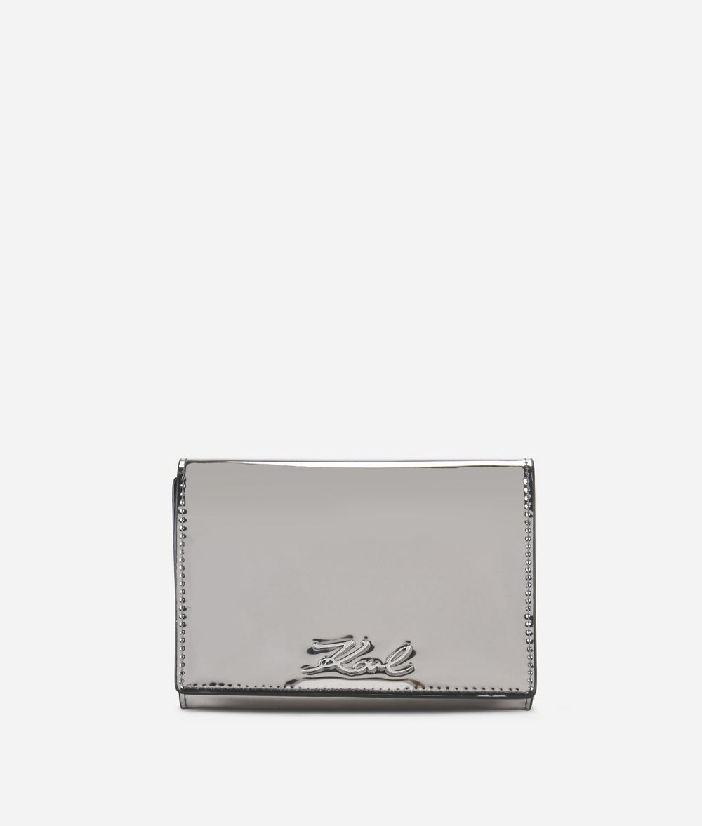 KARL LAGERFELD K/Signature Gloss Fold Wallet Wallet Woman f