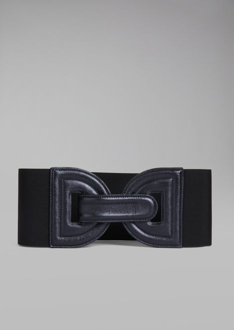 Stretch fabric waist belt with metallic nappa leather buckle