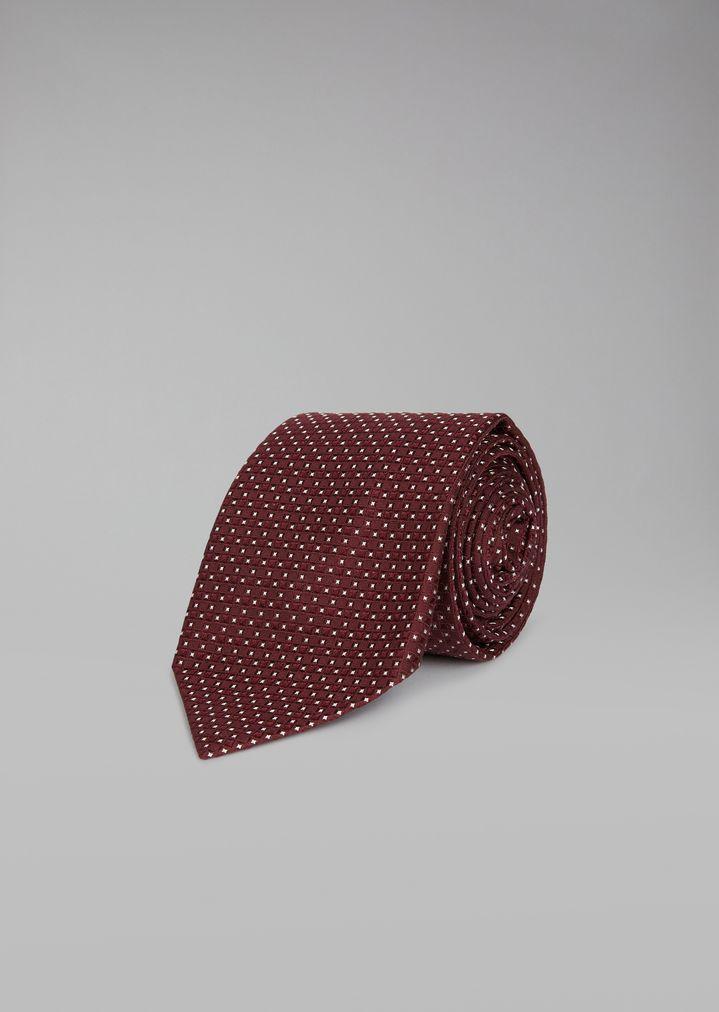 19eaf1f6d7ac Pure silk tie with checked jacquard motif | Man | Giorgio Armani
