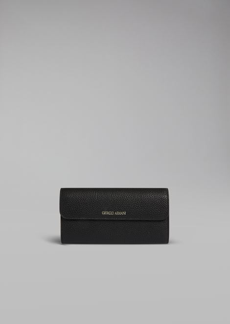 Grainy calfskin leather fold out wallet